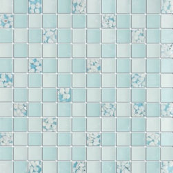 Serene Celeste Blue Glossy & Matt Square Pattern Glass Mosaic Tiles, Sample - 1 in. x 1 in. Serene Celeste Blue Mesh-Mounted Square Pattern Glass Mosaic Tile is a great way to enhance your decor with a traditional aesthetic touch. This Glossy & Matt Mosaic Tile is constructed from durable, impervious Glass material, comes in a smooth, unglazed finish and is suitable for installation on floors, walls and countertops in commercial and residential spaces such as bathrooms and kitchens.
