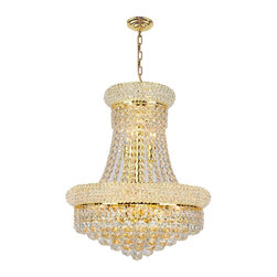 "Worldwide Lighting - Empire 8-Light Gold Finish and Clear Crystal Chandelier 16"" D x 20"" H Mini Small - This stunning 8-light crystal chandelier only uses the best quality material and workmanship ensuring a beautiful heirloom quality piece. Featuring a radiant gold finish and finely cut premium grade crystals with a lead content of 30%, this elegant chandelier will give any room sparkle and glamour."