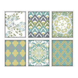 Studio D&K - Large Wall Art Set of 6 Prints - Set of Six 8x10 Moroccan Inspired Abstract Art Prints in Various Shades of Teal Blue, Mustard Yellow, Forest Green, and Grey.