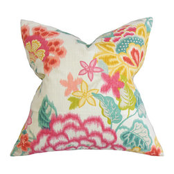 The Pillow Collection - Lindsay Pink 18 x 18 Floral Throw Pillow - - Pillows have hidden zippers for easy removal and cleaning  - Reversible pillow with same fabric on both sides  - Comes standard with a 5/95 feather blend pillow insert  - All four sides have a clean knife-edge finish  - Pillow insert is 19 x 19 to ensure a tight and generous fit  - Cover and insert made in the USA  - Spot clean and Dry cleaning recommended  - Fill Material: 5/95 down feather blend The Pillow Collection - P18-42359-REDJADE-C100