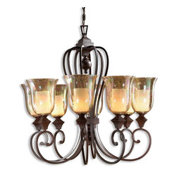 Uttermost - Elba 8-Light Candle Chandelier - You can entertain royalty in your dining area with this amazing eight-light chandelier. The crackled glass allows light to shimmer around the room while the grand curved arms hold the iridescent sconces.
