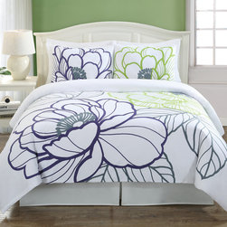 None - Floral Sketch Cotton 3-Piece Duvet Cover Set - Floral Sketch duvet cover sets feature a giant floral design in vibrant colors that will refresh your  bedroom. They are made with 100-percent cotton in a sateen weave. The pillow shams do not have flanges,for a more modern look.
