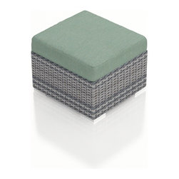 Harmonia Living - Urbana Modern Wicker Ottoman, Weathered Stone Wicker, Spa Cushion - The Harmonia Living Urbana Modern Outdoor Wicker Ottoman with Turquoise Sunbrella cushions (SKU HL-URBNWS-OT-SP) is one of our most popular all weather patio ottomans and for good reason, too! Its clean, modern style matches the Urbana collection, which is one of the best values in modern patio furniture. Add one or two of these sofa ottomans to your outdoor sofa set for more utility and decor. Lightweight, yet durable, they are easy to place with piece of mind. It features a sturdy aluminum frame, brushed aluminum feet, high density polyethylene outdoor wicker, and an easy-to-clean Sunbrella cushion on top!