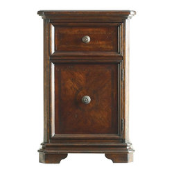 Stanley Furniture - Continental-Telephone Table - Time stands still with the comfort of an Old World telephone table.  Richly exquisite wood veneers adorn the door front. Distressing details, pleasing contours and tarnished brass knobs are an elegant and practical treat.
