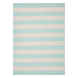 Jaipur Rugs - Flat Weave Stripe Pattern Blue Wool Handmade Rug - PV39, 5x8 - Bold color is the name of the game with Pura Vida. This beautiful collection of durable, reversible flat-woven dhurries combines the classic simplicity of linear patterns with a decidedly modern palette for a look that's at once casual and sophisticated.