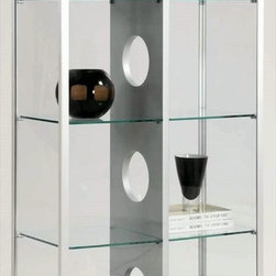 Chintaly Imports - Modern Glass Curio with 2 Side Doors with Locks - Beautiful 2 door glass curio cabinet. It has 2 side locking doors for easy access. There are 2 interior overhead lights to showcase your items. All the glass is tempered. The center divider is Silver painted wood. The frame is Black painted wood.