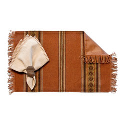 Silverado Home - Genghis Rust Fringed Placemat - Sold in Sets of Four: