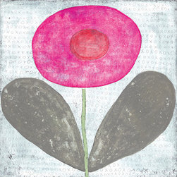 Kathy Kuo Home - Happy Flower 'XOXO' Reclaimed Wood Art Print Wall Art - Large - Add bright color, childlike whimsy and sentiment to your wall with this art piece available in two sizes. The primitive flower takes center stage on a backdrop that's covered with X's and O's, surrounded by a handmade artisan frame. It will provide a happy pop to both your wall and your mood.