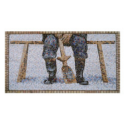 "The Shoveler Mosaic Art - I use the ancient medium of mosaic to create 21st century imagery. The Shoveler is created from micro mosaic tile (3/8"") and marble. 23.25"" x 43"" in dimension, The Shoveler is framed in marble and ready to hang."