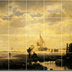 Picture-Tiles, LLC - Bringing In The Catch Tile Mural By Andreas Achenbach - * MURAL SIZE: 32x40 inch tile mural using (20) 8x8 ceramic tiles-satin finish.