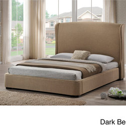 Baxton Studio - Baxton Studio Sheila Linen King Size Bed with Upholstered Headboard - The Sheila Designer Bed features a solid rubberwood frame,foam padding,and irresistible dark beige or grey linen. A richly elegant wingback headboard and wood legs with a dark brown stain complete your newest piece of modern bedroom furniture.