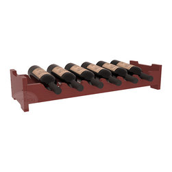 6 Bottle Mini Scalloped Wine Rack in Pine with Cherry Stain + Satin Finish - Decorative 6 bottle rack with pressure-fit joints for stacking multiple units. This rack requires no hardware for assembly and is ready to use as soon as it arrives. Makes the perfect gift for any occasion. Stores wine on any flat surface.