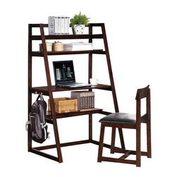 "Acme - 2-Piece Celia Collection Espresso Finish Wood Leaning Angular Wall Desk - 2-Piece Celia collection espresso finish wood leaning angular wall desk / shelf unit and chair set with modern styling. This set features an angular style design with upper shelves and chair. Desk measures 35"" x 24"" x 59"" H. Chair measures 31"" H to the back. Some assembly required."