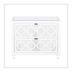 Worlds Away Barkley Mirrored Nightstand, White - Mirror 2 Drawer Nightstand w. Inset Beveled Mirror Top. All drawers on glides.