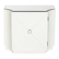 World away Gatsby cabinet, White - White lacquer one door chest. Inset middle shelf. Inset beveled mirrored top.