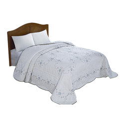 Pem America - Blue Vine Embroidered Queen Bedspread - Take your bedroom in a traditional direction with our blue vine embroidered bedspread.  This pattern is a classic bedspread with a large embroidered vine ring pattern on an egg shell base.  The face of the quilt also has a machine stitched pattern to add to the surface texture of the whole ensemble. Queen bedspread measures 102 x 118 inches. 100% polyester face and detailed embroidery. Machine washable.