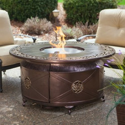 Red Ember Richland 48 in. Round Propane Fire Pit Table with Decorative Scroll - Add a little elegance to your backyard with the Red Ember Richland 48 in. Round Fire Pit with Decorative Scroll Design. In weatherproof cast aluminum, this intricately attractive table centers around a stainless steel burner and bowl full of glass fire beads. About Red EmberAt the center of any good outdoor gathering is a fire. At the center of a fire, a Red Ember. We make fire products designed to bring people together. Red Ember products harness the age-old power of fire to comfort, heat, cook, and enchant. Our experience and expertise in the industry allow us to provide added features and extras without burning a hole in your pocket. It's not about spending a lot of money - it's about lighting a fire. Get together and gather 'round a Red Ember.