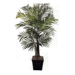 Oriental-Décor - 7' Areca Palm Artificial Tree - A pretty ornamental to have in any residential or commercial space, Areca palms are well-known for their elegance and tropical appeal. However these palms have specific sunlight and watering requirements. To keep your live Areca palm in tiptop shape, you will need to water it slowly but regularly and expose it to indirect sunlight. If you live in a wintry location and prefer having the beauty of an Areca palm in your home all year through, this artificial house plant 7 foot Areca Palm Artificial Tree will satisfy your every requirement. Crafted from silk and polyester, this artificial plant has the natural appearance of a live Areca, so that it looks real from every angle. A total of 22 branches converge together and 676 leaves create a stunning, natural looking head of fronds. Also known as butterfly palm, the Areca palm is reminiscent of the laid-back tropical life. Get the same style  without the difficult maintenance  with this 7 foot Areca Palm Artificial Tree today!