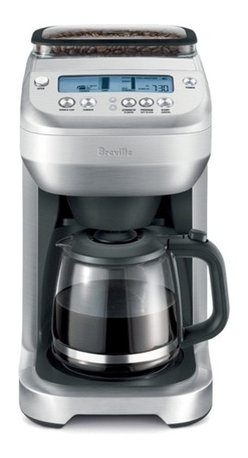 Breville - Breville You Brew Automatic Grind & Brew 12-Cups Glass Coffee Maker - Find out what the buzz is all about. This high quality coffee maker can grind and brew to compete with the best coffee houses. It features a 12-cup glass carafe technology that ensures the right proportions of coffee to water, a clock and timer, a half pound bean hopper with powerful grinder, a single cup setting and adjustable taste controls.