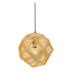 EcoFirstArt - tom dixon etch light - Hang a stunning, illuminated geode from your ceiling with this elegant pendant. This mathematically perfect sculptural light is crafted from sections of recycled etched metal sheets, making it ecofriendly and super smart. Sit back and enjoy the intricate shadows this lovely lamp casts, when you light it in your home.