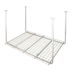 "HyLoft - HyLoft 60"" x 45"" Ceiling Storage Rack - The HyLoft Pro 60 by 45-inch unit is made of strong, durable steel with a scratch resistant finish, and each unit holds up to 300 pounds. The height is adjustable from 30 to 40 inches so you can custom fit it to a variety of spaces, and multiple units can be connected to create a contiguous storage area. The open grate design allows you to see what's stored above. Installation is simple-you can do it by yourself in about 15 minutes."