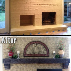 Fireplace Mantels - A full length faux beam used as an oversized mantel shelf gives this design a unique appeal.