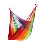 Yellow Leaf Hammocks - Rainbow Hanging Chair Hammock - Boasting the brilliance of every member of the color spectrum, our Rainbow Hanging Chair is 100% handcrafted by artisan weavers for maximum comfort.