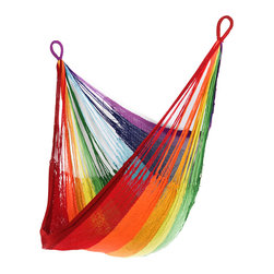Yellow Leaf Hammocks - Rainbow Hanging Chair Hammock - Boasting the brilliance of every member of the color spectrum, our Rainbow Hanging Chair is 100% handcrafted by artisan weavers for maximum comfort.