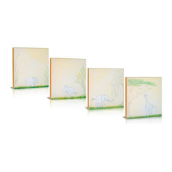 Green Frog - Green Frog Safari Sidekicks 4 Piece Canvas Gallery Wrapped Art - GF0007 - Shop for Framed Art and Posters from Hayneedle.com! Inspire a love of wild things in your little one with the Green Frog Safari Sidekicks 4 Piece Canvas Gallery Wrapped Art set. In pale hues of peach green and brown this four-piece set depicts Africa's most lovable beasts in a serene setting framed in orange rust. Hand-painted on natural canvas this set is delivered stretched on frame.For every Green Frog art piece or set sold Green Frog will donate one piece to Operation Homefront's Star Spangled Babies program. So you can support our military families and feel good about your purchase.About Green FrogBased in Lakewood New Jersey Green Frog has been producing distinctive dependable children's products since 1996. From premium cribs to rocking chairs wall decor to heirloom baby cradles Green Frog is committed to creating products children will love and parents will value for generations.Green Frog's commitment extends beyond high-quality children's furnishings to supporting our communities and nurturing our environment. For every wooden cradle Green Frog sells the company ensures a new tree is planted. And for every work of art sold Green Frog makes a matching donation to Operation Homefront's Star Spangled Babies a thoughtful and patriotic program that supports military and wounded-warrior families with all their baby's needs. Green Frog: Here for Years to Come.