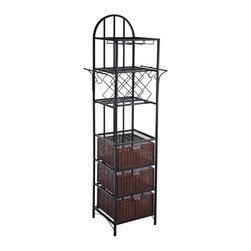 """Southern Enterprises Inc - Southern Enterprises Inc Genevieve Kitchen Storage Tower with Wine Rack X-5189AK - This kitchen tower is the answer to not only storage dilemmas, but eye-catching displays as well. Its clean, rounded styling makes it a great choice for any kitchen. The kitchen tower features three glass hanging racks for display and convenient access. The tower also features a wine bottle rack that accommodates up to eight bottles of wine for celebrating in the moment. Other great storage elements include three removable baskets, an open shelf, and two hanging bars with S-shaped hooks for displaying and storing pots etc. Durable construction and beautiful design make this a great addition to any home with traditional or transitional d&#233:cor. Use this tower in the kitchen or breakfast nook to make the most of your space. - 27"""" W x 18.25"""" D x 81.5"""" H - Includes 3 glass hanging racks and 1 wine bottle rack which accommodates 8 bottles - Includes 2 extended hanging bars and 4 S-shaped hanging hooks - Includes 3 removable storage baskets and 1 open shelf - Glass hanging racks: 4.5"""" W x 14.5"""" D x 9.5"""" H - Bottle rack openings: 4"""" W x 4"""" D (rack grates are 6"""" apart) - Basket: 15"""" W x 16"""" D x 8"""" H (interior), with 3.5"""" W x 1.25"""" H handle opening - Open shelf: 16.5"""" W x 18.25"""" D x 14"""" H - Space beneath unit: 16.5"""" W x 18.25"""" D x 4"""" H - Black finish with espresso baskets - Max weight capacity: 25 lb. (each shelf), 20 lb. (each basket) - Constructed of square metal tube, MDF, and ash veneer - Assembly required"""