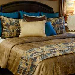Bedding 2013 - Pebble Beach: Shimmery Bronze fabric with crocodile texture highlighted with Cerulean and Auburn tones.