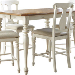 Liberty Furniture Ocean Isle 54 Inch Square Counter Height Table in Ivory, Light