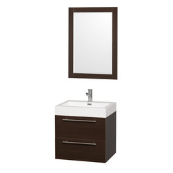 Wyndham Collection - Amare Bathroom Vanity in Espresso, Acrylic-Resin Top and Integrated Sink - Modern clean lines and a truly elegant design aesthetic meet affordability in the Wyndham Collection� Amare Vanity. Available with green glass , acrylic resin or pure white man-made stone counters, and featuring soft close door hinges and drawer glides, you'll never hear a noisy door again! Meticulously finished with brushed Chrome hardware, the attention to detail on this elegant contemporary vanity is unrivalled.