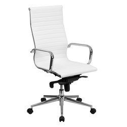 Flash Furniture - High Back White Ribbed Upholstered Executive Office Chair - Inspired by the classic Eames Office Chair - this elegant office chair will add an upscale appearance to your office. The comfort molded seat has built-in lumbar support and features a locking tilt mechanism for a mid-pivot knee tilt. This chair features dual paddle controls to easily adjust your chair and an integrated bar in the back to keep your jacket within reach. If you're looking for a modern office chair that provides a sleek look, then the Ribbed Upholstered LeatherSoft Office Chair by Flash Furniture delivers.