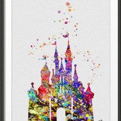 KidsPlayHome - Playroom Signed Wall Art Disney Castle Magic Kingdom - Playroom Art Print