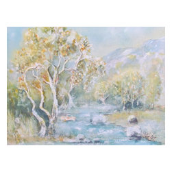 "Cottonwood Creek, Original, Painting - ""It is estimated that over 90% of commercially marketed paintings are painted in the studio. This is not one of those paintings. The artist painted the subject PleinAir  while fishing at the base of Heart Mtn. in North West Wyoming. Cottonwood Creek is a small unmapped creek, lined with cottonwood trees and pasture. Dry most of the time, when it  does flow , it runs fast and clear , funneling rain off the mountain to the valley below.. A storm was approaching and the cottonwoods were capturing the patches of light peeking through the gathering clouds. Painted with a limited palette of pan pigments,, it is alive with the urgency of the moment. . """