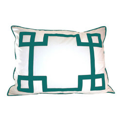 Jill Sorensen Lifestyle - Turquoise Key Euro Sham - Modern, fun & chic!  This luxurious bedding collection adds stylish graphics to any bedroom. 1 Euro sham is included.