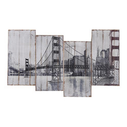 Yosemite Home Decor - Golden Gate Bridge Art - Distressed wood panels depicting a rustic look in black and white completed with touches of turquoise and red.