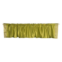 Indian Selections - Pair of Olive Green Rod Pocket Top It Off Handmade Sari Valance, 80 X 15 In. - Size of each Valance: 80 Inches wide X 15 Inches drop. Sizing Note: The valance has a seam in the middle to allow for the wider length