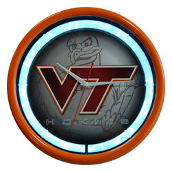 Authentic Street Signs - Virginia Tech NCAA 12-inch Plasma Neon Clock - Check out this great plasma neon clock. It features a vibrant plasma tube that illuminates a room with its electrifying lightning effects. It's perfect for your Man Cave, Game Room, Office or anywhere you want to show love for your favorite team. The plasma tube is powered by a UL listed 12-volt AC adapter. Measures 12 inches diameter.