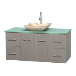 """Wyndham Collection - Centra 48"""" Grey Oak Single Vanity, Green Glass Top, Avalon Ivory Marble Sink - Simplicity and elegance combine in the perfect lines of the Centra vanity by the Wyndham Collection. If cutting-edge contemporary design is your style then the Centra vanity is for you - modern, chic and built to last a lifetime. Available with green glass, pure white man-made stone, ivory marble or white carrera marble counters, with stunning vessel or undermount sink(s) and matching mirror(s). Featuring soft close door hinges, drawer glides, and meticulously finished with brushed chrome hardware. The attention to detail on this beautiful vanity is second to none."""