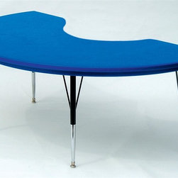 Correll Inc - Kidney Shape Blow Molded Activity Table in Bl - Finish: Short/BlueResist stains and damage from food, juices, crayons, paint, and even permanent markers. Light weight, scratch and impact resistant. Colors go all the way through. Not wear or scrape off. Free standing, full perimeter welded steel frames. Legs attach to frames with 3 bolts each. Free speed wrench for fast height adjustments. Standard legs adjust from 21 in. to 30 in. in 1 in. increments. Short legs adjust from 16 in. to 25 in. in 1 in. increments. Pictured in Blue. 48 in. W x 72 in. L