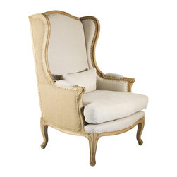 Kathy Kuo Home - Leon French Country High Back Linen Wing Chair - With French inspiration, the Leon wing chair lends a refined, vintage feel to your home. With superior craftsmanship the natural wood is carved with graceful lines defined by a natural bleached oak finish and a jute chair back. This armed wing chair features an amply padded seat back, sides and arms, as well as a feather down seat cushion covered in French linen with matching lumbar pillow.