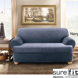 Sure Fit - Sure Fit Stretch Stripe 2-piece T-cushion Loveseat Slipcover - Give your loveseat a new look with this stylish sure-fit stretch slipcover. This two-piece slipcover features a subtle stripe pattern giving a custom look to your seat while offering a solution for tricky furniture with its stretch fabric construction.