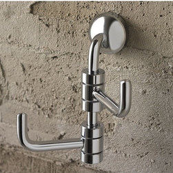 Toscanaluce - Polished Chrome Double Robe Hook - Stylish, contemporary design wall mounted chrome double robe or towel hook. Bathroom double hook is made out of brass with a polished chrome finish. Decorative hook easily attaches to the wall with screws. Made in Italy by Toscanaluce. Stylish, contemporary style wall mount chrome double robe or clothes hook. Bathroom hook made out of brass with a polished chrome finish. Decorative hook easily attaches to the wall with screws. From the Toscanaluce Riviera Collection.