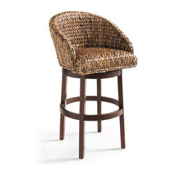 Grandin Road - Milo Swivel Seagrass Stool - Woven seagrass stool with a swiveling barrel-backed seat. Supportive, round seat is finished in a variegated mix of rich java hues. Due to the natural color variations inherent in natural fibers, seagrass finish will vary. Solid mahogany frame with a deep espresso finish. Round, four-legged frame features an all-around foot rail. Make the Milo stool your perfect island perch; the supportive, barrel-backed seagrass seat swivels 360º at the kitchen counter or bar. The texture-rich seat is woven from java-toned seagrass in a durable wide herringbone pattern, and balances beautifully atop a round, deep espresso-finished mahogany hardwood frame with a comfortable foot rail on all sides. Make over your kitchen or wine cellar bar with a group of these hard-working stools – they're a great value and they look great in action.  .  .  .  .  . Fitted with a 360º swiveling mechanism . Arrives assembled . Imported. A Grandin Road exclusive.
