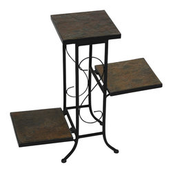 4D Concepts - 4D Concepts 3 Tier Plant Stand w/ Slate Top in Black Metal - What a wonderfully crafted natural rustic slate top and metal plant stand that is perfect for any kitchen, nook, or patio in the home.   All the metal is finished in a rich powder coated black which gives the product  a distinct look.  The nicely sculpted metal frame adds to the beauty of this unit.  The 3 fold down slate shelves are perfect for holding any of your favorite plants.  The flared legs at the bottom adds to the elegance of this unit.  Constructed of metal and stone.  Clean with a dry non abrasive cloth.  Comes fully assembled