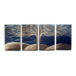 Miles Shay - Metal Wall Art Decor Abstract Contemporary Modern Sculpture- Tree of Life - This Abstract Metal Wall Art & Sculpture captures the interplay of the highlights and shadows and creates a new three dimensional sense of movement as your view it from different angles.