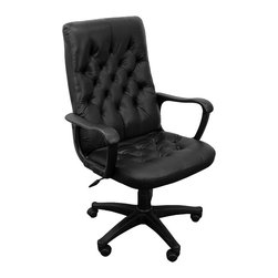 Flash Furniture - Traditional Leather Office Arm Chair w Tufted - Everyone will know you've arrived when they see you sitting behind your desk in this fabulous traditional style executive chair. Beautifully crafted from genuine black leather, it features handsome button-tufting on the thickly padded seat and back. Completely adjustable with a pneumatic gas lift, it also features a locking tilt control and padded arms for maximum comfort. This handsome chair is a great addition to any office. Traditional high back leather executive swivel. Black leather. Traditional tufted seat and back cushions. Locking tilt control mechanism. Pneumatic gas lift. Polyurethane arms. Nylon base. Dual wheel carpet casters. Back: 20 in. W x 26 in. H. Seat: 20 in. W x 19 in. D. Seat Height: 18 in. - 22 in. H. Floor To Arm Height: 25 in. - 29 in. H. Overall: 26�_ in. W x 24 in. D x 42 - 46 in. H