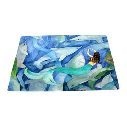 """xmarc - Mermaid Area Rugs, Mermaid & Dolphin Party, 96""""X 48"""" - Dolphins and mermaid area rugs, art appears on the top side, which is made of a soft plush fabric. Bottom is made of durable white rubber mat with rounded and sewn corners."""